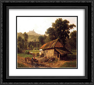 In the Foothills 22x20 Black or Gold Ornate Framed and Double Matted Art Print by Albert Bierstadt