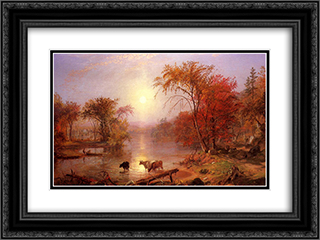 Indian Summer Hudson River 24x18 Black or Gold Ornate Framed and Double Matted Art Print by Albert Bierstadt