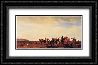 Indians Travelling Near Fort Laramie 24x16 Black or Gold Ornate Framed and Double Matted Art Print by Albert Bierstadt