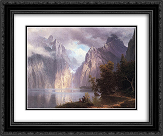 Scene in the Sierra Nevada 24x20 Black or Gold Ornate Framed and Double Matted Art Print by Albert Bierstadt