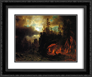 The Trapper's Camp 24x20 Black or Gold Ornate Framed and Double Matted Art Print by Albert Bierstadt