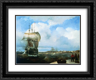 The Great Roads at Kronstadt 24x20 Black or Gold Ornate Framed and Double Matted Art Print by Ivan Aivazovsky