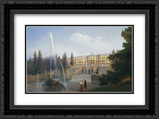 View of the Big Cascade in Petergof and the Great Palace of Petergof 24x18 Black or Gold Ornate Framed and Double Matted Art Print by Ivan Aivazovsky