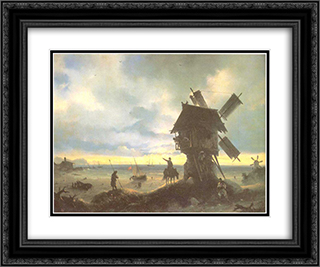 Windmill on the Sea Coast 24x20 Black or Gold Ornate Framed and Double Matted Art Print by Ivan Aivazovsky