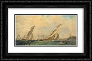 Frigate on a sea 24x16 Black or Gold Ornate Framed and Double Matted Art Print by Ivan Aivazovsky