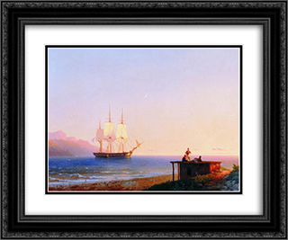 Frigate under sails 24x20 Black or Gold Ornate Framed and Double Matted Art Print by Ivan Aivazovsky