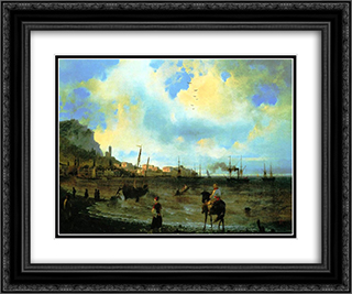 Yalta 24x20 Black or Gold Ornate Framed and Double Matted Art Print by Ivan Aivazovsky