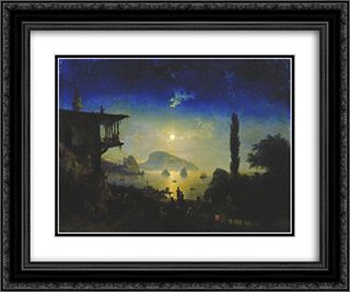 Moonlit Night on the Crimea. Gurzuf 24x20 Black or Gold Ornate Framed and Double Matted Art Print by Ivan Aivazovsky