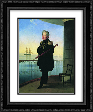 Portrait of Vice Admiral M.P. Lazarev 20x24 Black or Gold Ornate Framed and Double Matted Art Print by Ivan Aivazovsky