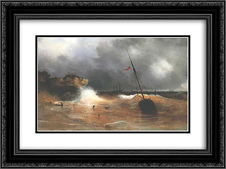 The gale on sea is over 24x18 Black or Gold Ornate Framed and Double Matted Art Print by Ivan Aivazovsky