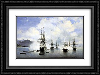 The Landing at Subashi 24x18 Black or Gold Ornate Framed and Double Matted Art Print by Ivan Aivazovsky