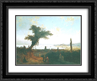 The Old Feodosia 24x20 Black or Gold Ornate Framed and Double Matted Art Print by Ivan Aivazovsky