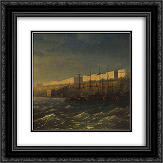 Odessa 20x20 Black or Gold Ornate Framed and Double Matted Art Print by Ivan Aivazovsky