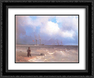 Sea coast 24x20 Black or Gold Ornate Framed and Double Matted Art Print by Ivan Aivazovsky
