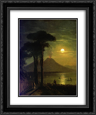 The Bay of Naples at moonlit night. Vesuvius 20x24 Black or Gold Ornate Framed and Double Matted Art Print by Ivan Aivazovsky
