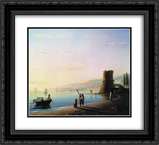 The pier in Feodosia 22x20 Black or Gold Ornate Framed and Double Matted Art Print by Ivan Aivazovsky