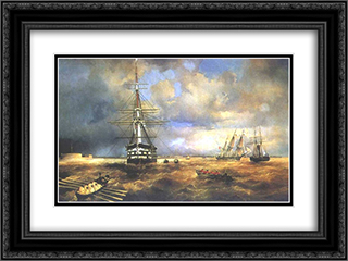 The Roads at Kronstadt 24x18 Black or Gold Ornate Framed and Double Matted Art Print by Ivan Aivazovsky