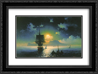 Lunar night on Capri 24x18 Black or Gold Ornate Framed and Double Matted Art Print by Ivan Aivazovsky