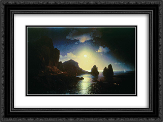 Sea view 24x18 Black or Gold Ornate Framed and Double Matted Art Print by Ivan Aivazovsky