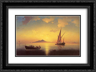 The Bay of Naples 24x18 Black or Gold Ornate Framed and Double Matted Art Print by Ivan Aivazovsky