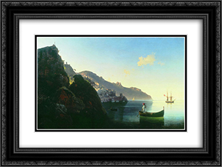 The Coast at Amalfi 24x18 Black or Gold Ornate Framed and Double Matted Art Print by Ivan Aivazovsky