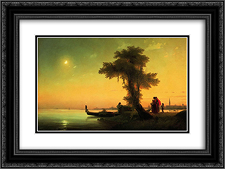 View on lagoon of Venice 24x18 Black or Gold Ornate Framed and Double Matted Art Print by Ivan Aivazovsky