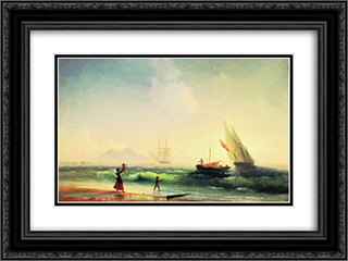Meeting of a fishermen on coast of the bay of Naples 24x18 Black or Gold Ornate Framed and Double Matted Art Print by Ivan Aivazovsky