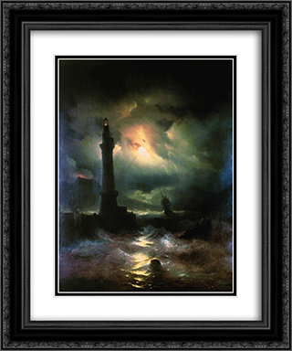 Neapolitan Lighthouse 20x24 Black or Gold Ornate Framed and Double Matted Art Print by Ivan Aivazovsky