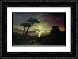 The Bay of Naples at moonlit night 24x18 Black or Gold Ornate Framed and Double Matted Art Print by Ivan Aivazovsky