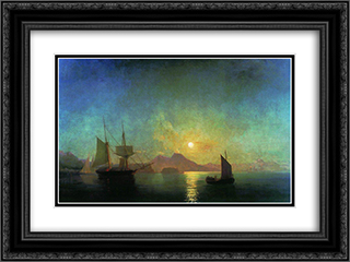 The Bay of Naples by Moonlight 24x18 Black or Gold Ornate Framed and Double Matted Art Print by Ivan Aivazovsky