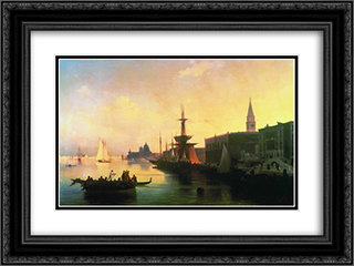 Venice 24x18 Black or Gold Ornate Framed and Double Matted Art Print by Ivan Aivazovsky