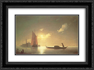 Gondolier at Sea by Night 24x18 Black or Gold Ornate Framed and Double Matted Art Print by Ivan Aivazovsky