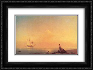 Seashore 24x18 Black or Gold Ornate Framed and Double Matted Art Print by Ivan Aivazovsky
