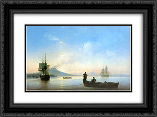 The Bay of Naples in the morning 24x18 Black or Gold Ornate Framed and Double Matted Art Print by Ivan Aivazovsky