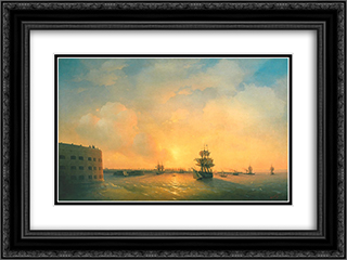 Kronstadt fort The emperor Alexander 24x18 Black or Gold Ornate Framed and Double Matted Art Print by Ivan Aivazovsky