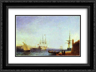 Malta Valetto Harbour 24x18 Black or Gold Ornate Framed and Double Matted Art Print by Ivan Aivazovsky