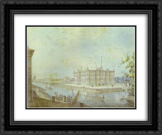 View of Saint Michael's Castle 24x20 Black or Gold Ornate Framed and Double Matted Art Print by Fyodor Alekseyev