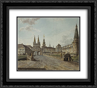 View of Voskresenskiye (Resurrection) and Nikolskiye Gates 22x20 Black or Gold Ornate Framed and Double Matted Art Print by Fyodor Alekseyev
