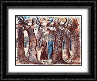 Illustration to Dante's Divine Comedy, Hell 24x20 Black or Gold Ornate Framed and Double Matted Art Print by William Blake