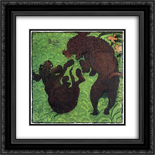 Two Poodles 20x20 Black or Gold Ornate Framed and Double Matted Art Print by Pierre Bonnard