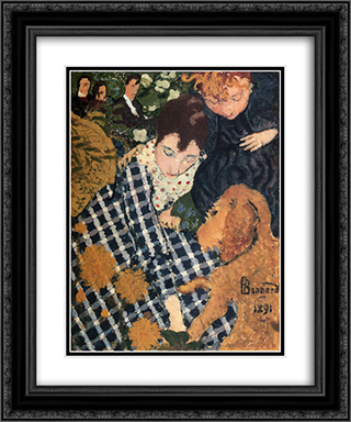 Woman with Dog 20x24 Black or Gold Ornate Framed and Double Matted Art Print by Pierre Bonnard