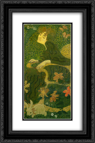 Young Girl Sitting with a Rabbit 16x24 Black or Gold Ornate Framed and Double Matted Art Print by Pierre Bonnard