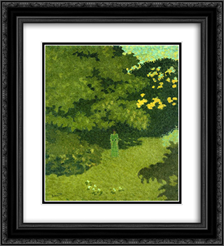 Woman in a Green Dress in a Garden 20x22 Black or Gold Ornate Framed and Double Matted Art Print by Pierre Bonnard