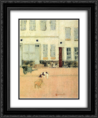 Street in Eragny-sur-Oise or Dogs in Eragny 20x24 Black or Gold Ornate Framed and Double Matted Art Print by Pierre Bonnard