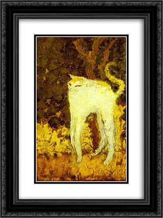 The White Cat 18x24 Black or Gold Ornate Framed and Double Matted Art Print by Pierre Bonnard