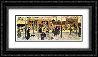 Parisian Boulevard 24x14 Black or Gold Ornate Framed and Double Matted Art Print by Pierre Bonnard