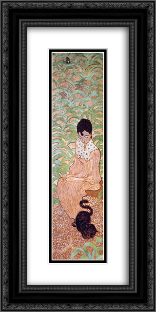 Sitting Woman with a Cat 12x24 Black or Gold Ornate Framed and Double Matted Art Print by Pierre Bonnard