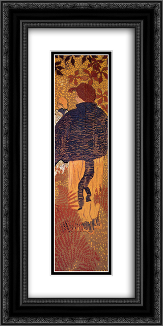 Woman in a Blue Pelerine 12x24 Black or Gold Ornate Framed and Double Matted Art Print by Pierre Bonnard