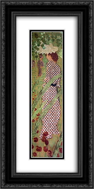 Woman in a Checked Dress 12x24 Black or Gold Ornate Framed and Double Matted Art Print by Pierre Bonnard