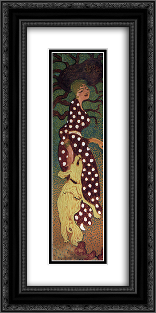 Woman in a Polka Dot Dress 12x24 Black or Gold Ornate Framed and Double Matted Art Print by Pierre Bonnard